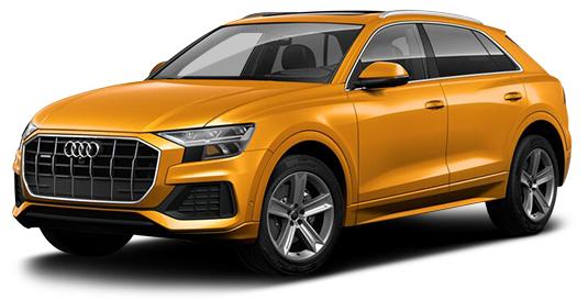 Gul ny Audi luksusbil. Slik elbil er også billig å leie.