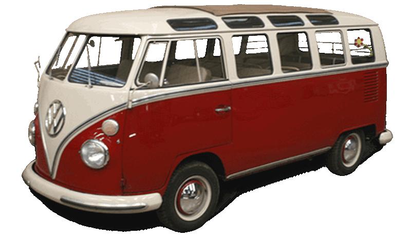 Rød og hvit veteranbuss av type sambabuss til utleie