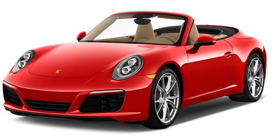 Rød Porsche sportsbil cabriloet klar for bryllupskjøring
