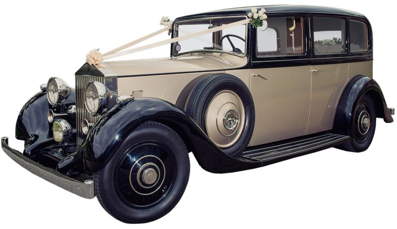 Veteranbil til leie for bryllupskjøring. Her en ferdig pyntet 1930 talls Rolls-Royce