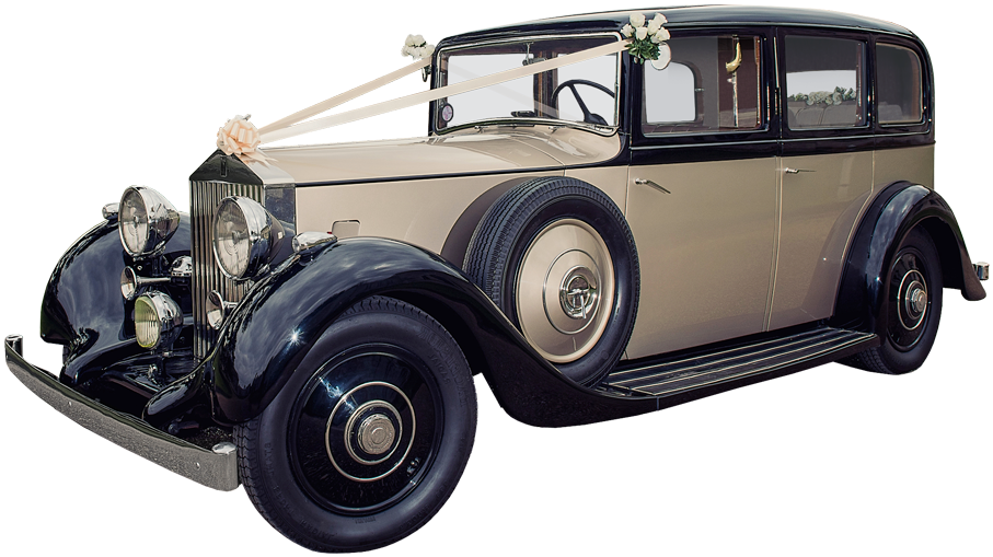 1930 talls Rolls-Royce bryllupsbil pyntet for bryllupstransport
